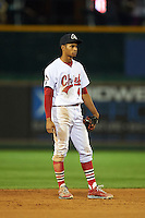 Peoria Chiefs shortstop Oscar Mercado (4) during a game against the Wisconsin Timber Rattlers on August 21, 2015 at Dozer Park in Peoria, Illinois.  Wisconsin defeated Peoria 2-1.  (Mike Janes/Four Seam Images)