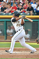 Luis Martinez (20) of the Salt Lake Bees at bat against the Reno Aces in Pacific Coast League action at Smith's Ballpark on July 24, 2014 in Salt Lake City, Utah.  (Stephen Smith/Four Seam Images)