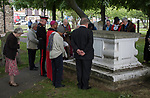 Nepton Distribution Barking Essex 2019.  Beneficiaries and dignitaries make their way to the Nepton Tomb, in the churchyard where a prayer is said and a wreath is placed on the tomb.<br /> The Nepton Distribution takes place annually in late May or early June at St Margaret's Church, Barking, Essex.