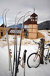 Cross country skis and a mountain bike for the members of the Nada Carmelite Hermitage in Crestone, CO. Michael Brands for The New York Times.