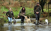FAO JANET TOMLINSON, DAILY MAIL PICTURE DESK<br />Pictured L-R: Charlotte Lewis, Sian Richards and James Smith with dogs in one of the farm's streams Wednesday 23 November 2016<br />Re: The Dog House in the village of Talog, Carmarthenshire, Wales, UK