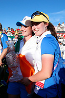 6th September 2021: Toledo, Ohio, USA;  Leona Maguire of Team Europe poses for a photo with her sister Lisa Maguire and with the Solheim Cup after winning the Solheim Cup on September 6, 2021 at Inverness Club in Toledo, Ohio.   Europe retained the Solheim Cup with a hard-fought 15-13 victory over the United States