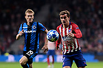 Atletico de Madrid's Antoine Griezmann and Club Brugge's Thibault Vlietinck during UEFA Champions League match between Atletico de Madrid and Club Brugge at Wanda Metropolitano Stadium in Madrid, Spain. October 03, 2018. (ALTERPHOTOS/A. Perez Meca)