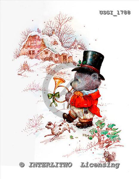 GIORDANO, CHRISTMAS ANIMALS, WEIHNACHTEN TIERE, NAVIDAD ANIMALES, Teddies, paintings+++++,USGI1788,#XA#