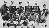 BNPS.co.uk (01202 558833)<br /> Pic: Pen&SwordBooks/BNPS<br /> <br /> Pictured: The Scottish team that played in the second international match.<br /> <br /> A historian believes he has uncovered a previously unknown participant in the first ever FA Cup final.<br /> <br /> James Bancroft is convinced Lieutenant George Barker represented the Royal Engineers in the 1872 final against the Wanderers.<br /> <br /> However, he is not listed in any official records or football books written about the showpiece occasion.<br /> <br /> Mr Bancroft said he has found newspaper reports with Lt Barker on the team-sheet and he appears in full kit in the Royal Engineers post-match team photo.<br /> <br /> He outlines his theory in his new book, The Early Years of the FA Cup, which charts the rise and fall of the Royal Engineers, the only military team to win the trophy.