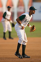 Third baseman Joaquin Rodriguez (22) of the Savannah Sand Gnats on defense at Grayson Stadium in Savannah, GA, Wednesday August 6, 2008  (Photo by Brian Westerholt / Four Seam Images)