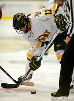 25 October 2008: University of Vermont Catamount forward Celeste Doucet, a Sophomore from Memramcook, New Brunswick, takes a faceoff against the Cornell University Big Red at Gutterson Fieldhouse, in Burlington, Vermont. The Big Red defeated the Catamounts 5-1 to sweep their 2-game series in Vermont...Mandatory Photo Credit: Ed Wolfstein Photo
