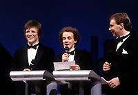 FILE - Andre-Philippe Gagnon, Pierre Verville, Michel beaudry au <br /> Gala la presse  1985 <br /> <br /> <br /> Photo : Agence Quebec Presse