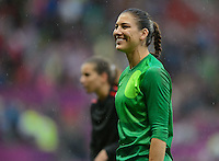Manchester, England - July 31, 2012: The USA Women's soccer team 1-0 over North Korea during the opening round of the Olympic football tournament at Old Trafford. Hope Solo smiles at the crowd.