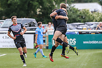 Ben Hellewell of London Broncos (right) celebrates after he scores his 3rd (hat trick) try of the game during the Kingstone Press Championship match between London Broncos and Sheffield Eagles at Castle Bar , West Ealing , England  on 9 July 2017. Photo by David Horn.