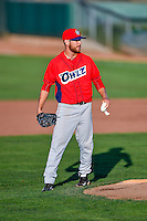 Justin Kelly (12) of the Orem Owlz of the Orem Owlz during the game against the Ogden Raptors in Pioneer League action at Lindquist Field on July 29, 2016 in Ogden, Utah. Orem defeated Ogden 8-5. (Stephen Smith/Four Seam Images)