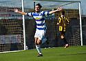 Morton's David McNeil celebrates after he scores their third goal.