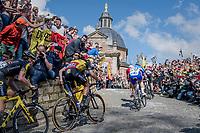 Philippe Gilbert (BEL/Quick Step floors) is right up there in the front of the peloton up the infamous Muur van Geraardsbergen (1100m/7.6%) that is back in the parcours after a 5 year hiatus<br /> <br /> 101th Ronde Van Vlaanderen 2017 (1.UWT)<br /> 1day race: Antwerp › Oudenaarde - BEL (260km)