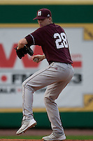 Mississippi State Bulldog starting pitcher Chris Straton #28 warms up before the NCAA baseball game against the LSU Tigers on March 16, 2012 at Alex Box Stadium in Baton Rouge, Louisiana. LSU defeated Mississippi State 3-2 in 10 innings. (Andrew Woolley / Four Seam Images).