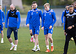 St Johnstone Training....30.04.21<br />Callum Booth pictured alongside Ali McCann and Chris Kane during training at McDiarmid Park ahead of tomorrows game at Hibs.<br />Picture by Graeme Hart.<br />Copyright Perthshire Picture Agency<br />Tel: 01738 623350  Mobile: 07990 594431