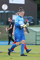 Essevee's goalkeeper Ianthe Meersschaert (71) pictured before a female soccer game between FC Femina White Star Woluwe and Dames Zulte Waregem  on the first matchday of the 2020 - 2021 season of Belgian Women's SuperLeague , Friday 28 of August 2020  in Sint Lambrechts Woluwe , Belgium . PHOTO SPORTPIX.BE | SPP | SEVIL OKTEM
