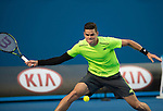 Milos Raonic (CAN) defeats Feliciano Lopez (ESP) 6-4, 4-6, 6-3, 6-7, 6-3 at the Australian Open being played at Melbourne Park in Melbourne, Australia on January 26, 2015