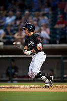 Birmingham Barons right fielder Alex Call (8) follows through on a swing during a game against the Tennessee Smokies on August 16, 2018 at Regions FIeld in Birmingham, Alabama.  Tennessee defeated Birmingham 11-1.  (Mike Janes/Four Seam Images)