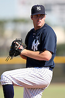 New York Yankees minor league pitcher Chase Whitley (56) vs. the Pittsburgh Pirates in an Instructional League game at the New York Yankees Minor League Complex in Tampa, Florida;  October 8, 2010.  Photo By Mike Janes/Four Seam Images