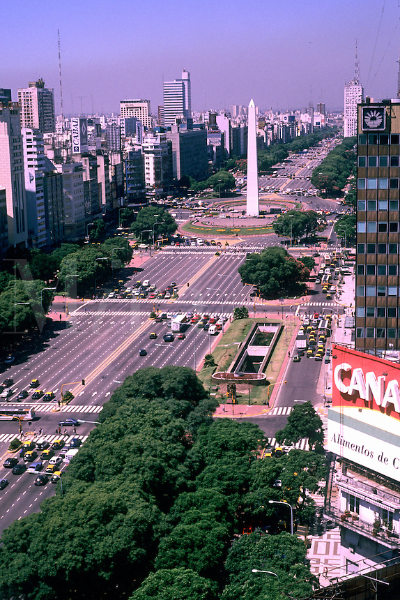 Aerial view of 9 De Julio Avenue, the worlds widest street, Buenos Aires, Argentina, South America.