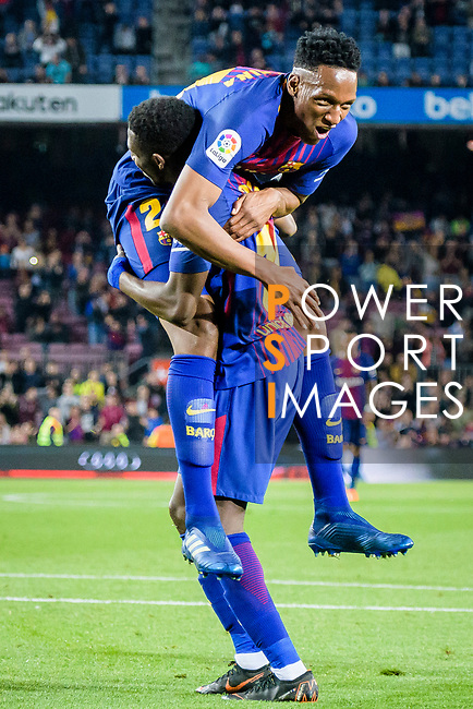 Ousmane Dembele of FC Barcelona (bottom) celebrates after scoring his goal Yerry Fernando Mina Gonzalez of FC Barcelona (top) during the La Liga 2017-18 match between FC Barcelona and Villarreal CF at Camp Nou on May 09 2018 in Barcelona, Spain. Photo by Vicens Gimenez  / Power Sport Images