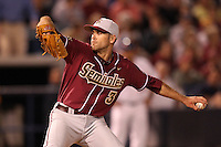 """Florida State Seminoles Sean Gilmartin #3 during a game vs. the Florida Gators in the """"Florida Four"""" at George M. Steinbrenner Field in Tampa, Florida;  March 1, 2011.  Florida State defeated Florida 5-3.  Photo By Mike Janes/Four Seam Images"""