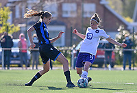 Marie Minnaert (13) of Club Brugge pictured in a duel with Laura Deloose (14) of Anderlecht during a female soccer game between Club Brugge Dames YLA and RSC Anderlecht on the fourth matchday in Play-Off 1 of the 2020 - 2021 season of Belgian Scooore Womens Super League , saturday 1st May 2021  in Brugge , Belgium . PHOTO SPORTPIX.BE | SPP | DAVID CATRY