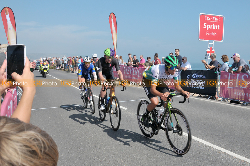 The AJ Bell Tour Of Britain cyclists pass through Slapton Sands on 6th September 2021
