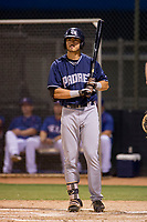 AZL Padres 2 right fielder Mason House (40) bats during a game against the AZL Rangers on August 2, 2017 at the Texas Rangers Spring Training Complex in Surprise, Arizona. Padres 2 defeated the Rangers 6-3. (Zachary Lucy/Four Seam Images)