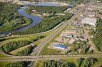 Aerial view of Airport way and the George Parks Highway overpass, Fairbanks, Alaska