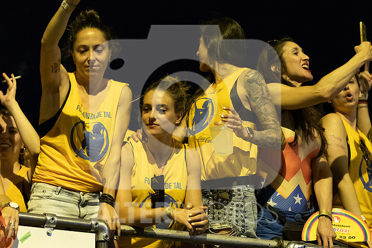 Football players Alexia Putellas and Jennifer Hermoso in manifestation of the lgtb pride party of Madrid. July 6, 2019. (ALTERPHOTOS/JOHANA HERNANDEZ)