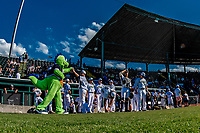 20 June 2021: Vermont Lake Monsters Mascot Champ interacts with the players prior to a game against the Westfield Starfires at Centennial Field in Burlington, Vermont. The Lake Monsters fell to the Starfires 10-2 at Centennial Field, in Burlington, Vermont. Mandatory Credit: Ed Wolfstein Photo *** RAW (NEF) Image File Available ***
