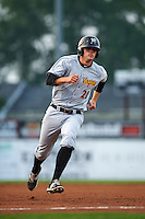 West Virginia Black Bears first baseman Albert Baur (28) running the bases during a game against the Batavia Muckdogs on August 31, 2015 at Dwyer Stadium in Batavia, New York.  Batavia defeated West Virginia 5-4.  (Mike Janes/Four Seam Images)
