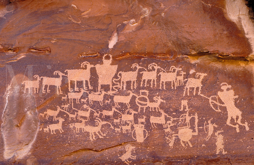 Fremont Indian rock art, Petroglyphs. Utah USA Cottonwood Canyon.