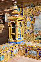The tiled 'Province Alcoves' along the walls of the Plaza de Espana in Seville built in 1928 for the Ibero-American Exposition of 1929, Seville Spain