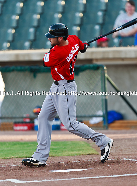 El Paso Diablos DH Stephen Douglas (13) in action during the American Association of Independant Professional Baseball game between the El Paso Diablos and the Fort Worth Cats at the historic LaGrave Baseball Field in Fort Worth, Tx. Fort Worth defeats El Paso 10 to 9.
