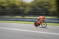 Samoilau Branislau (BLR/CCC-Sprandi Polkowice) out on the Autodromo Nazionale (Monza Race Circuit) for the closing time trial into Milano<br /> <br /> stage 21: Monza - Milano (29km)<br /> 100th Giro d'Italia 2017