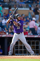 Chris Dominguez (22) of the Louisville Bats at bat against the Durham Bulls at Durham Bulls Athletic Park on August 9, 2015 in Durham, North Carolina.  The Bulls defeated the Bats 9-0.  (Brian Westerholt/Four Seam Images)