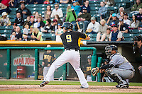Alex Yarbrough (9) of the Salt Lake Bees at bat against the Sacramento River Cats in Pacific Coast League action at Smith's Ballpark on April 20, 2015 in Salt Lake City, Utah.  (Stephen Smith/Four Seam Images)
