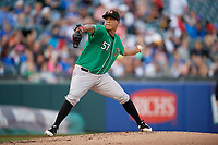 Norfolk Tides pitcher Luis Ysla (57) during an International League game against the Buffalo Bisons on June 21, 2019 at Sahlen Field in Buffalo, New York.  Buffalo defeated Norfolk 1-0, the second game of a doubleheader.  (Mike Janes/Four Seam Images)