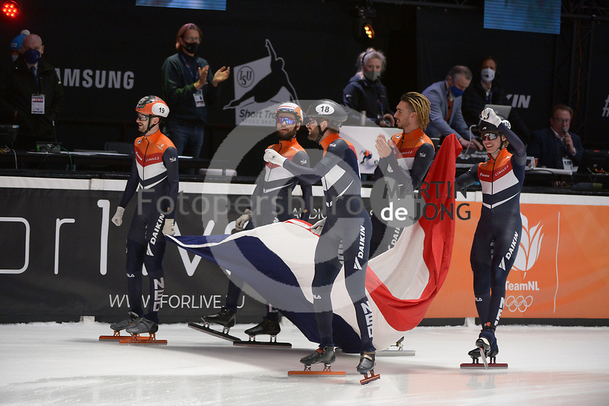SPEEDSKATING: DORDRECHT: 07-03-2021, ISU World Short Track Speedskating Championships, Final A 5000m Relay, Itzhak de Laat, Sjinkie Knegt, Daan Breeuwsma, Dylan Hoogerwerf, Jens van 't Wout (NED), ©photo Martin de Jong