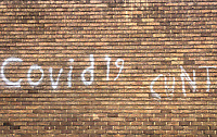 High Wycombe, England.<br /> COVID-19 Graffiti on a wall in the town during the COVID-19 pandemic lockdown as the UK Government advice to maintain social distancing and minimise time outside in High Wycombe on 30 April 2020. Photo by PRiME Media Images / Andy Rowland.