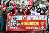 Rally outside Parliament during a 3 Cosas Campaign open-top bus tour by outsourced cleaning, security and maintenance workers employed by Cofely GDF-Suez at London University, on strike over union recognition, job losses and conditions of employment.  The mostly Latin-American employees are members of the IWGB union and have already won a pay increase to the London Living Wage.