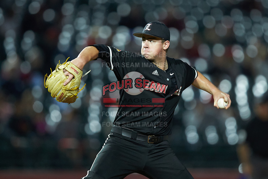 Louisville Cardinals starting pitcher Brendan McKay (38) in action against the Notre Dame Fighting Irish in Game Eight of the 2017 ACC Baseball Championship at Louisville Slugger Field on May 25, 2017 in Louisville, Kentucky. The Cardinals defeated the Fighting Irish 10-3. (Brian Westerholt/Four Seam Images)
