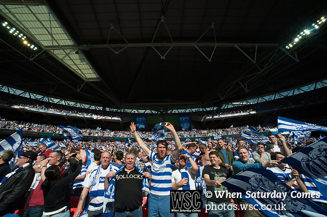 Queens Park Rangers 1 Derby County 0, 24/05/2014. Wembley Stadium, Championship Play Off Final. Queens Park Rangers supporters celebrate after the Championship Play-Off Final between Queens Park Rangers and Derby County from Wembley Stadium. Queens Park Rangers won the game 1-0 to gain promotion to the Premier League.  Photo by Simon Gill.