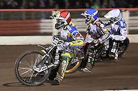 Heat 7: Chris Holder (red), Rory Schlein (blue) and Scott Nicholls (white) - Lee Richardson Memorial Speedway Meeting at Arena Essex Raceway, Purfleet - 28/09/12 - MANDATORY CREDIT: Gavin Ellis/TGSPHOTO - Self billing applies where appropriate - 0845 094 6026 - contact@tgsphoto.co.uk - NO UNPAID USE.