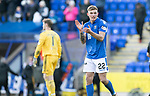 St Johnstone v Hamilton Accies…26.10.19   McDiarmid Park   SPFL<br />Callum Hendry celebrates at full time<br />Picture by Graeme Hart.<br />Copyright Perthshire Picture Agency<br />Tel: 01738 623350  Mobile: 07990 594431