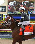 HALLANDALE BEACH, FL -JULY 02:  #7 Spelling Again (PA) with jockey Luis Saez coming back after winning the  Princess Rooney Stakes G2, a Breeders' Cup Win and You're In race at Gulfstream Park on July 02, 2016 in Hallandale Beach, Florida. (Photo by Liz Lamont/Eclipse Sportswire/Getty Images)