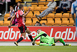 St Johnstone v Sunderland…15.07.17… McDiarmid Park… Pre-Season Friendly<br />Zander Clark is knockewd out after this collision with Jack Rodwell<br />Picture by Graeme Hart.<br />Copyright Perthshire Picture Agency<br />Tel: 01738 623350  Mobile: 07990 594431