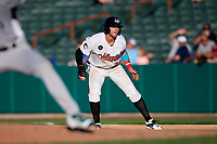 Tri-City ValleyCats left fielder Seth Beer (34) leads off first base during a game against the Vermont Lake Monsters on June 16, 2018 at Joseph L. Bruno Stadium in Troy, New York.  Vermont defeated Tri-City 6-2.  (Mike Janes/Four Seam Images)